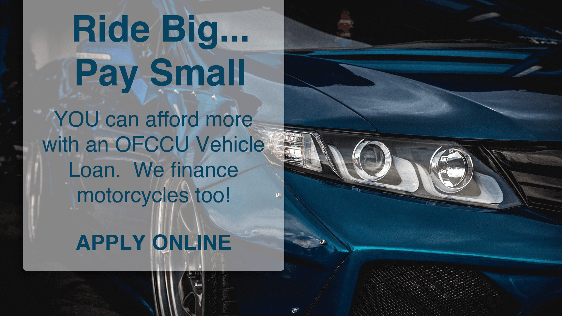 OFCCU Vehicle Loan advertisement with link to apply online.